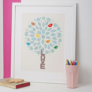 Personalised 'Love' Tree Print - nursery pictures & prints