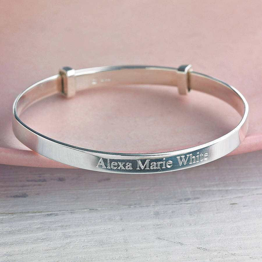 bangles sterling cubic childrens silver be with bracelets zirconia bangle personalisation can heart baby babies personalised