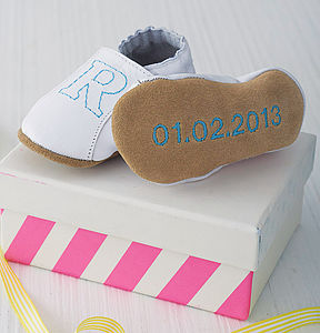 Personalised Initial Christening Shoes - gifts: under £25