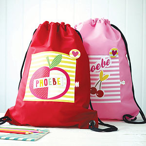 Girls Personalised Fruit Print Waterproof Kit Bag - gifts: under £25