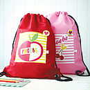 Girls Personalised Fruit Print Waterproof Kit Bag