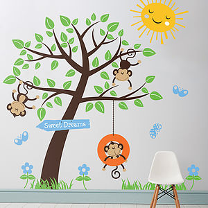 Childrens Monkey Tree Wall Stickers - decorative accessories