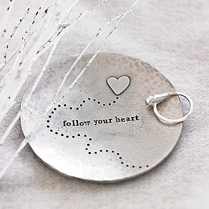 'Follow Your Heart' Trinket Dish - jewellery storage & trinket boxes