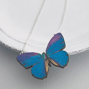 Milla Wooden Butterfly Necklace - beautiful brights