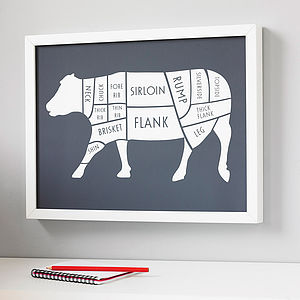 Butcher Beef Cuts Print - stocking fillers under £15