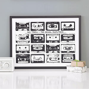 Personalised Playlist Cassette Print - black and white retro prints