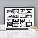 Personalised Playlist Cassette Print - Black & White