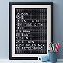 Bespoke Airport Style Destination Board Framed Print