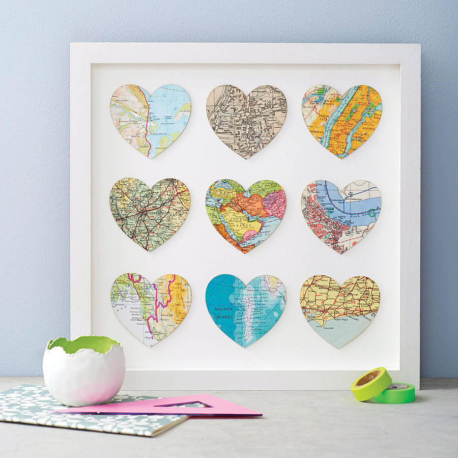 Nine Map Location Hearts Wedding And Anniversary Print By