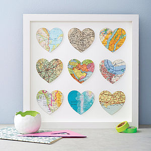 Nine Map Location Hearts Wedding And Anniversary Print - 50th birthday gifts