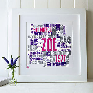 Personalised Birthday Typographic Words Artwork - canvas prints & art