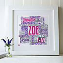 Personalised Birthday Typographic Words Artwork