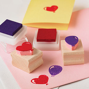 Party Balloon Hand Carved Rubber Stamp - diy & craft