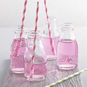 Set Of Four Milk Bottles With Straws - table decorations