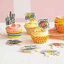 Pop Art Superhero Cupcake Cases And Toppers