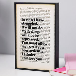Framed Pride And Prejudice Book Page - gifts under £25 for her