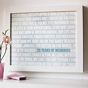 Personalised 'Years Of Memories' Anniversary Print - anniversary gift ideas