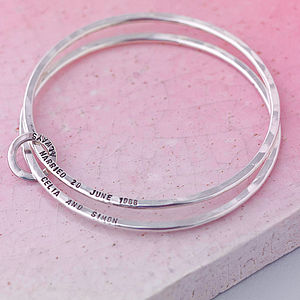 Personalised Double Bangle - anniversary gifts