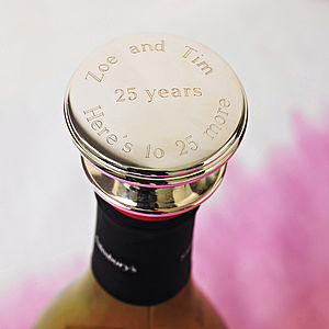 Personalised Wine Bottle Stopper - 25th anniversary: silver