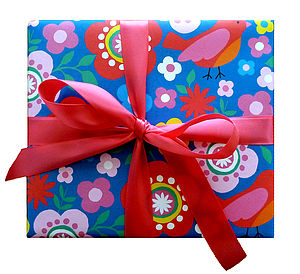 Multiflower Bird Print Wrapping Paper - ribbon & wrap