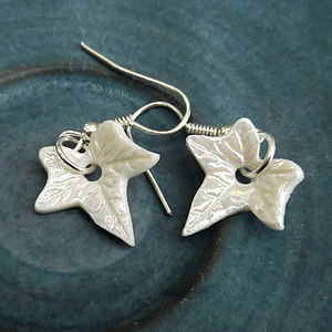 Handmade Porcelain Dangle Ivy Earrings - earrings