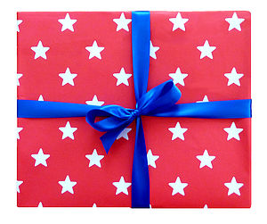 Red Star Print Wrapping Paper - ribbon & wrap