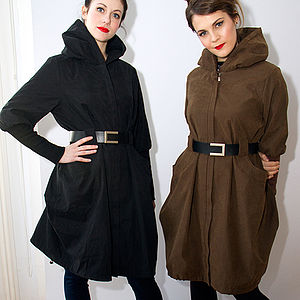 Parka Style Belted Coat - women's fashion