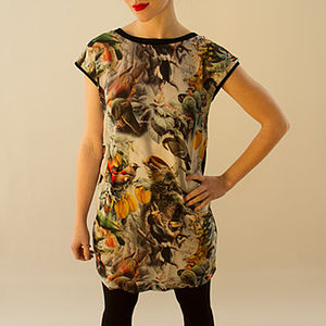 Silk Digital Bird Print Shift Dress - t-shirts, tops & tunics