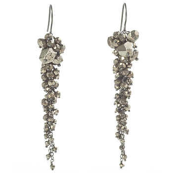 Pyrite Long Cascade Earrings