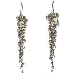 Pyrite Long Cascade Earrings - earrings