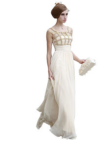 Ivory Evening Dress With Gold Stripes