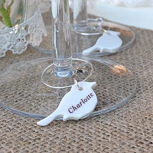 Personalised Bird Wedding Glass Charms - dining room