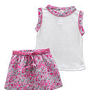 French Liberty Flower Skirt And Top Set