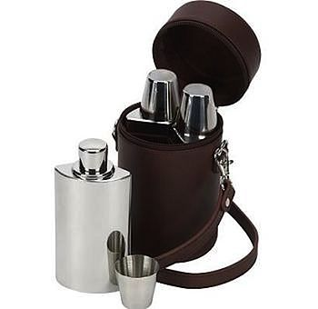 Travelling Three Piece Hip Flask Gift Set
