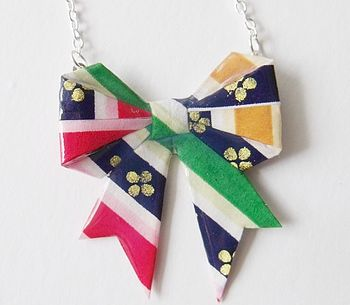 Rainbow Stripes Washi Origami Bow Necklace