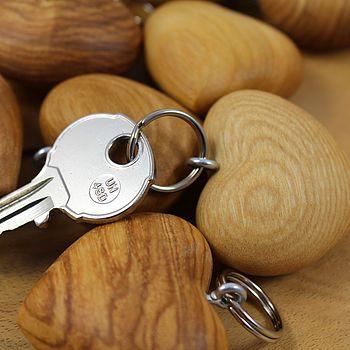 Wooden Heart Key Ring