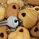 wooden heart with hole key ring