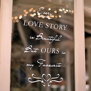 'Love Story' Wall And Window Sticker - weddings sale