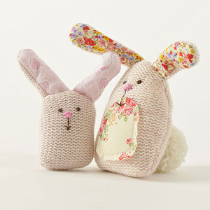 Mummy And Baby Knitted Rabbits - summer sale