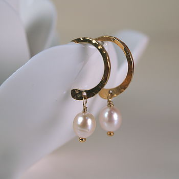 Delicate Freshwater Pearl Hoop Earrings