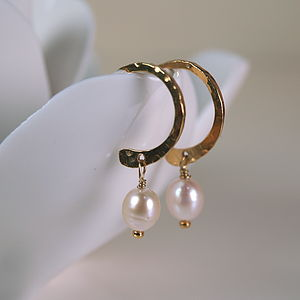 Delicate Freshwater Pearl Hoop Earrings - earrings