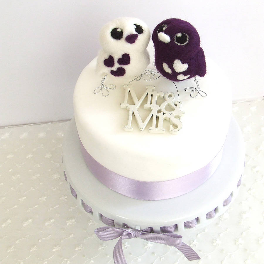blue love birds wedding cake topper bird opposites wedding cake topper by feltmeupdesigns 11994