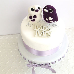 Love Bird Opposites Wedding Cake Topper - cake decoration
