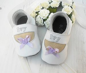 Personalised Bow Christening Shoes - socks, tights & booties