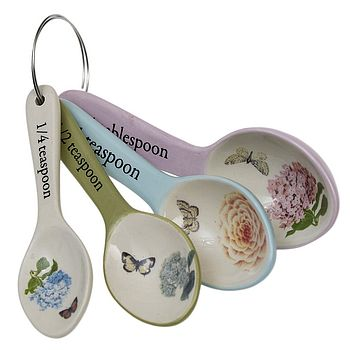 Set Of Four Botannical Measuring Spoons