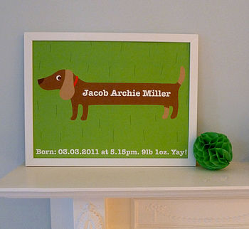 Personalised Boy's Sausage Dog Art Print