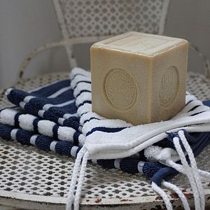 Nautical Striped Towel Mitten - bathroom