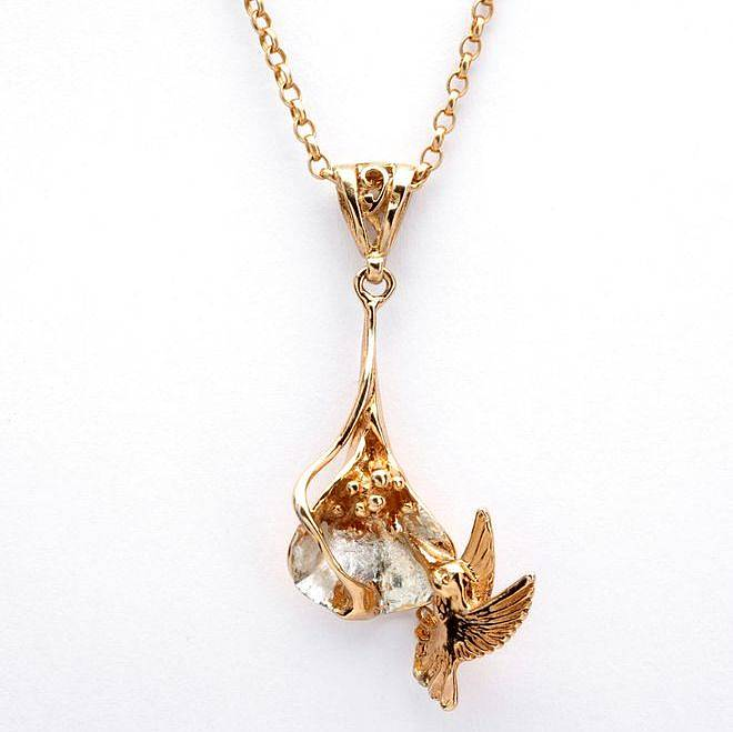 pendant white gold necklace hummingbird