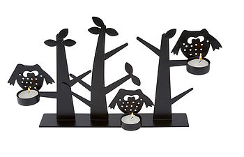 Silhouette Owls Tealight Holder