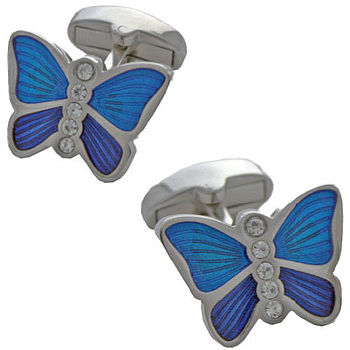 Women's Butterfly Crystal Cufflinks